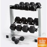 CAP Barbell 150 lb Rubber Hex Dumbbell Set, 5-25 lb with Rack $175