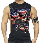 Patriotic US Flag Skull Barbed Wire Tank - $11.99