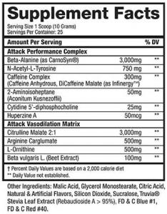 KODIAK ATTACK Pre Workout Supplement Facts
