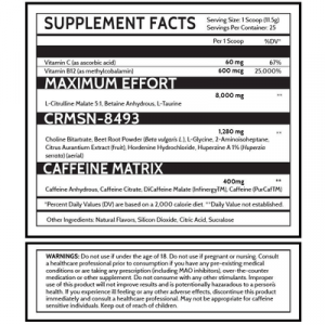 DVST8 Crimson Supplement Facts