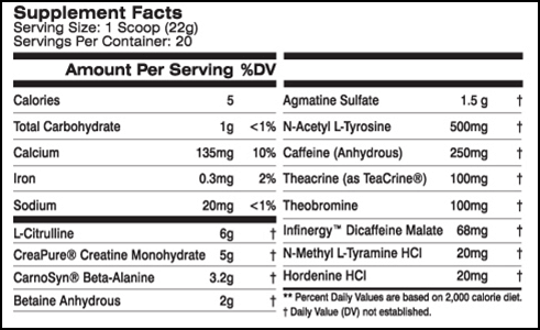 MTS Nutrition: Clash Supplement Facts