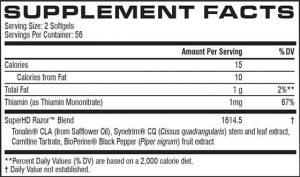 Cellucor Super HD Razor Supplement Facts